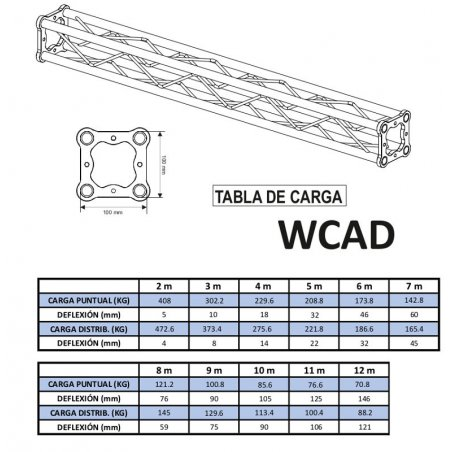 Tramo Mini Truss de aluminio WORK WCAD 100